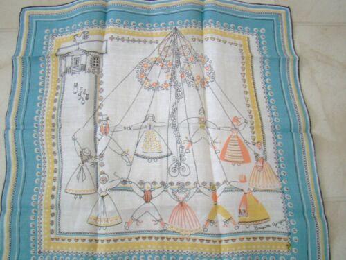 Swedish vintage Midsummer maypole dancers handkerchief Brigitta Ajnefors Sweden