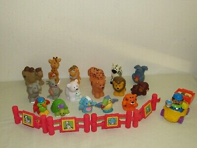 17 Fisher-Price Little People ZOO ANIMAL FIGURES + Fence, Keeper, Food, Car Lot