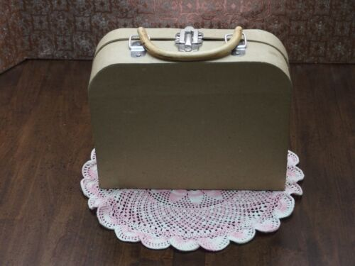Papier-Mache small Suitcase w/Bamboo handle for decoupage/craft projects PREOWN