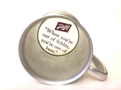 Vintage Schlitz Beer Aluminum Glass Bottom Mug Tankard Stein w/ Slogan