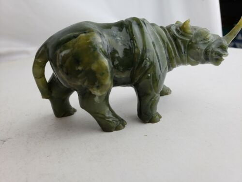 Chinese Green Jade Carved Rhino, Vintage #1