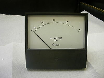 Simpson Model 2154 Catalog 17749 Analog Panel Meter 0-50 Ac Amperes