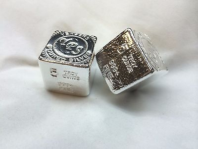 "5oz Hand Poured 999 Silver Bullion Bar ""Cube"" by Yeager's Poured Silver YPS"