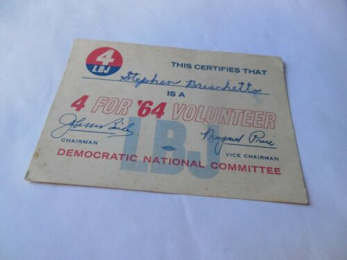 Lyndon Johnson LBJ 1964 Presidential Campaign Volunteer Card Democratic National
