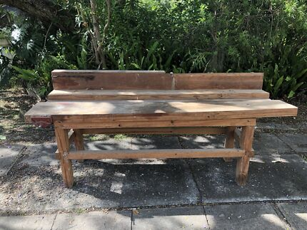 Timber workbench with inlaid vice