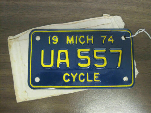 1974 Michigan Motorcycle License Tag Never Mounted