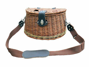 FLY FISHING CREEL WICKER BASKET BROWN LEISURE HANDLE LID FISH STORAGE PICNIC