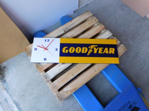 GOODYEAR Tires - European Quality Heavy Porcelain Enamel Metal Sign with Clock