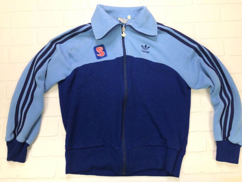 Vintage 1970s 1980s Adidas Jacket Blue Trefoil 3 Stripes Warm Up Track