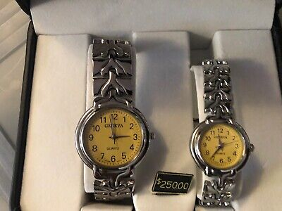 geneva mens and women yellow head watch