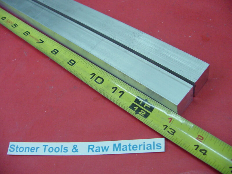 "2 Pieces 1"" X 1"" SQUARE ALUMINUM 6061 FLAT BAR 13"" long T6511 New Mill Stock"