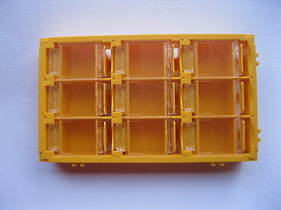 2 Pcs Smd Smt Electronic Component Mini Storage Box 9 Blocks Yellow Color T-155