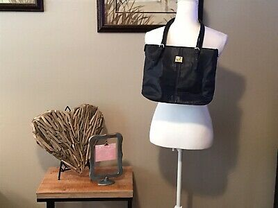 ANNE KLEIN Satchel Purse Tote Bag Navy Blue Pebbled Straps Medium