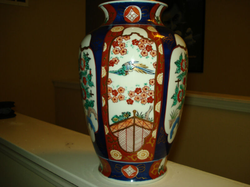 "Vintage Authentic Large Gold Imari Japanese 12"" Vase. Hand Painted Porcelain."