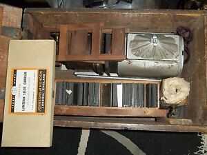 Antique Magic Lantern Slide Projector with 78 Mix Slides and Wooden Box