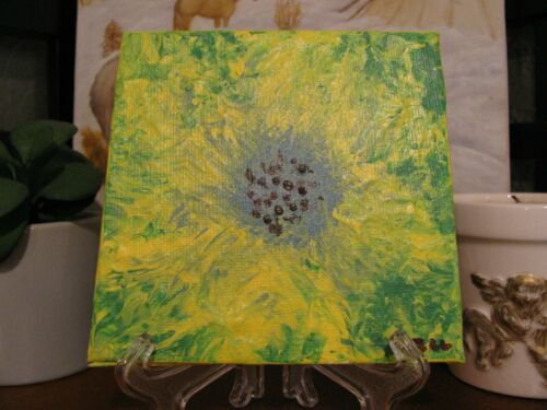 "Original, Hand Painted, Yellow Burst Flower, Art Acrylic on Canvas 4""x4"" w/Stand"