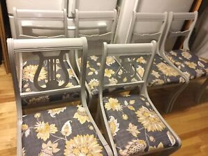 Grey dining chairs with fabric seats- available