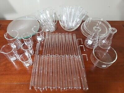 Mixed Lot Lab Glassware Used Watch Glass Beakers Flask Test Tubes Bowls Pyrex
