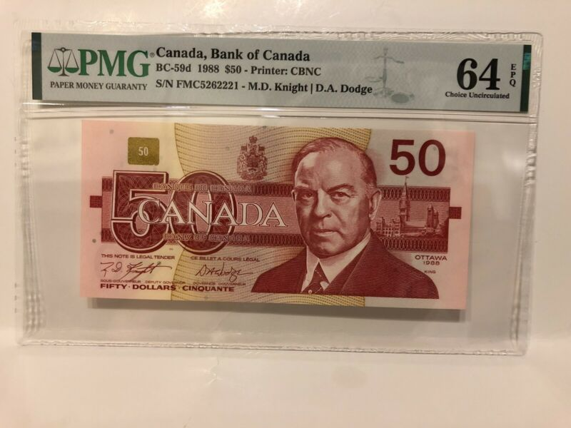 PMG Graded EPQ64 — 1988 Canada $50 Fifty Dollar Banknote