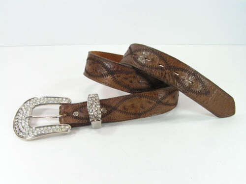 genuine, smooth, ostrich, skin, belt, mens, 33, brown, leather, bling, western, cowboy