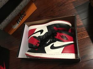 0d5146922b2c Authentic Jordan 1 bred toe size 9.5