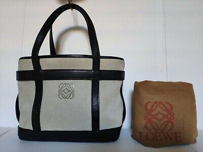 Authentic LOEWE Beige Suede with Black leather Trim Satchel Hand Bag
