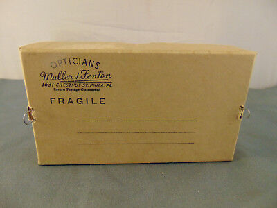 Antique Opticians Cardboard Mailing Box Muller Fenton Philadelphia Eyeglasses