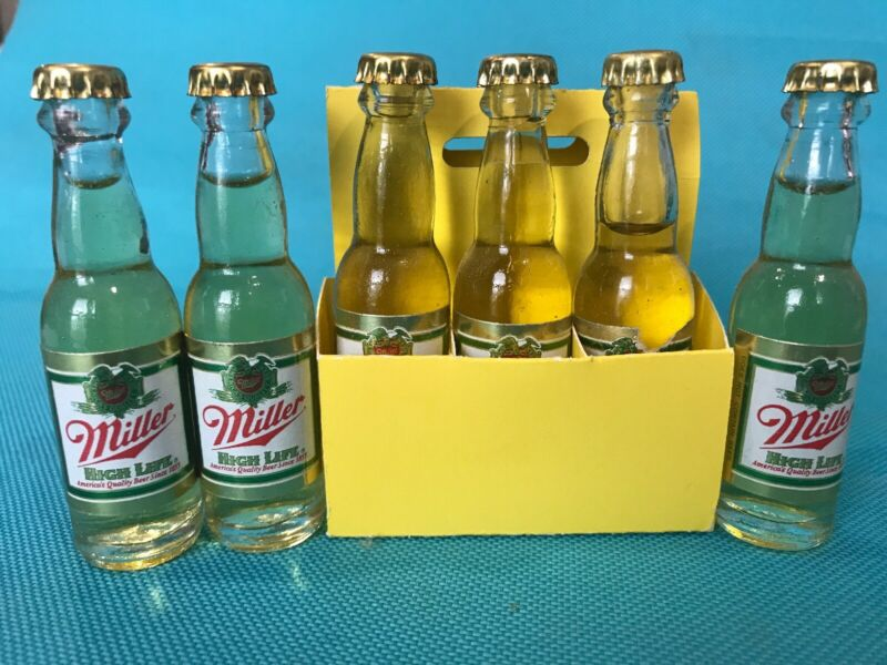 "6 Pack Miller High Life Mini Miniature 3"" Glass Bottles not cola six beer"
