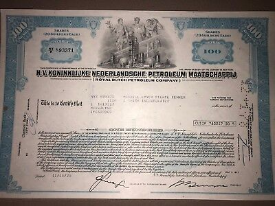 Royal Dutch Petroleum original stock certificate g8 oil/energy collectible