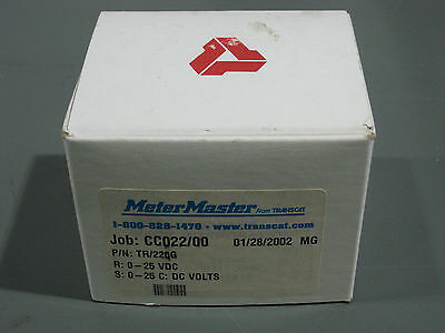 New In Box Meter Master Tr22og Panel Meter 0-25 Volts Dc Transcat