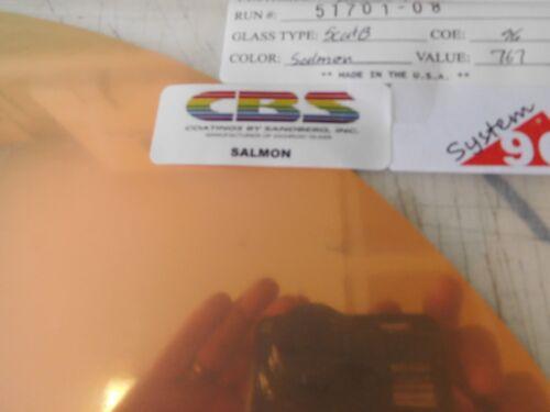 """Dichroic Glass:CBS 96 COE Salmon on Flat Thin Black- 3""""Sq"""