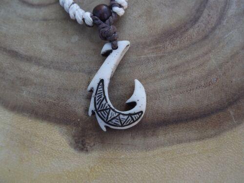 Hawaiian Manu Makau White Bone Fish Hook Necklace W/ Hawaii Koa Wood Bead New