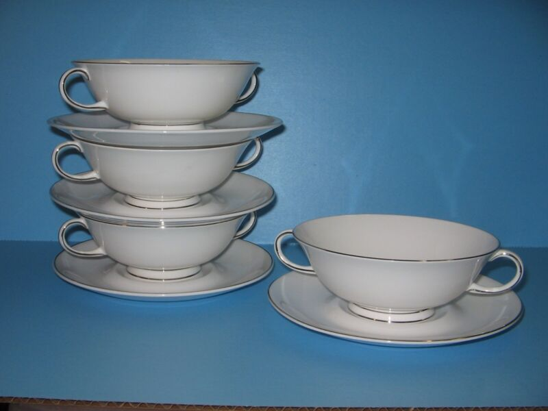 Susie Cooper Bone China England Wedgwood ILLUSION cream soup bowls Platinum Trim