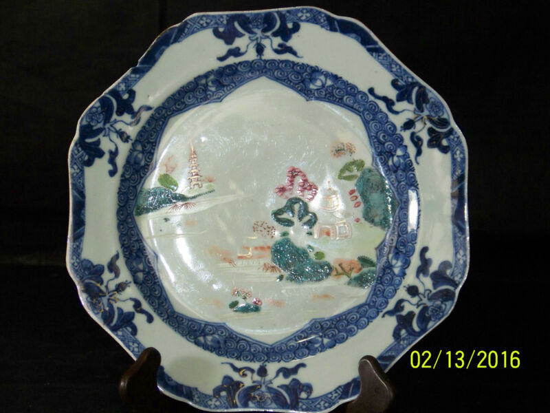 RARE-Chinese Qing Dy Qianlong Reign Export Blue&White Famille Rose Hand Painted