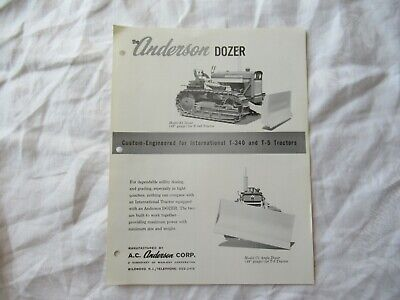 Anderson Dozer Specification Sheet Brochure For International T-340 T-5 Tractor