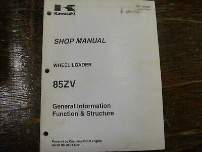 Kawasaki 85zv Wheel Loader Function Structure Shop Service Repair Manual