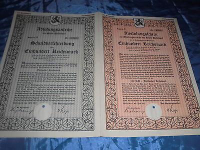 454 : Wertpapier , DÜSSELDORF ,1.Juli 1927 , Schuldverschreibung ,100 Reichsmark
