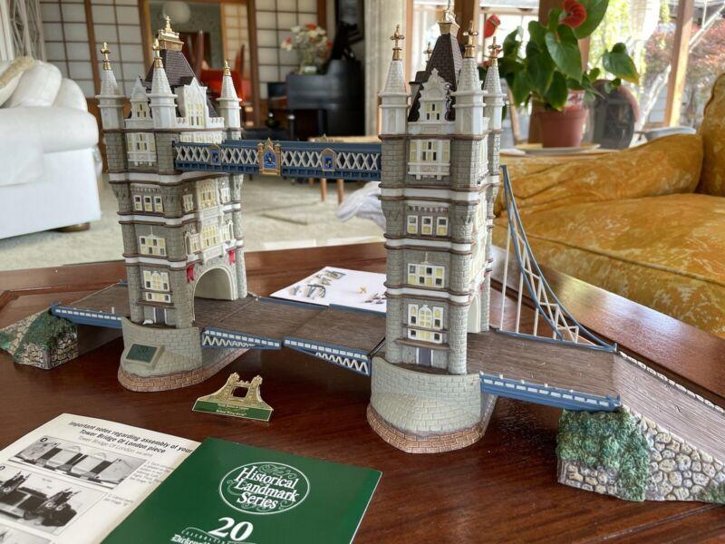 DEPT 56 DICKENS TOWER BRIDGE OF LONDON 20th ANNIV. SIGNED RETIRED *DAMAGED-READ*