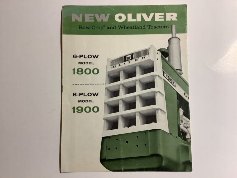 ORIGINAL OLIVER SALES BROCHURE 1800 AND 1900 TRACTORS 8 PAGES 1962
