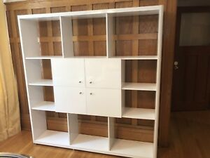 White gloss wall unit