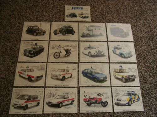 Police British Police Vehicles Set of 16 Collectors Cards + Checklist