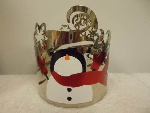 Bath & Body Works Christmas Holiday Snowman Snowflakes Metal Candle Holder