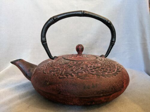 Vintage Cast Iron Chinese Teapot with Embossed Dragon, Infuser, Bamboo Handle