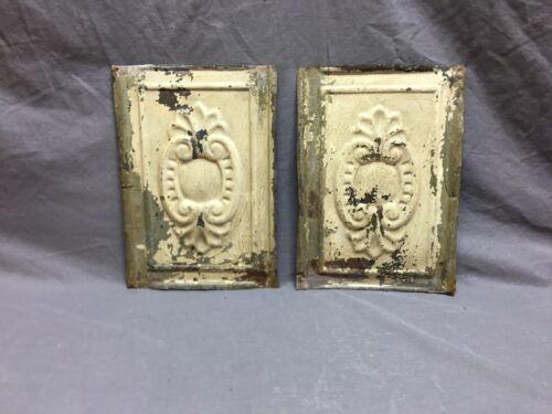 Pair  Antique Decorative Tin Metal Ceiling 8 x 12 Shabby Vtg Chic Old 43-19B