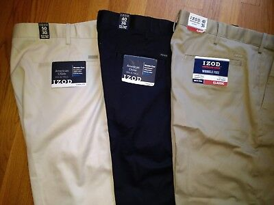 NWT, $75. Mens IZOD American Chino 100% Cotton Flat Front Pants Extender Waist