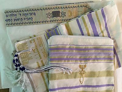 """Purple Messianic Jewish Christian Tallit Talit Prayer Shawl & Talis Bag 72""""*22"""""""
