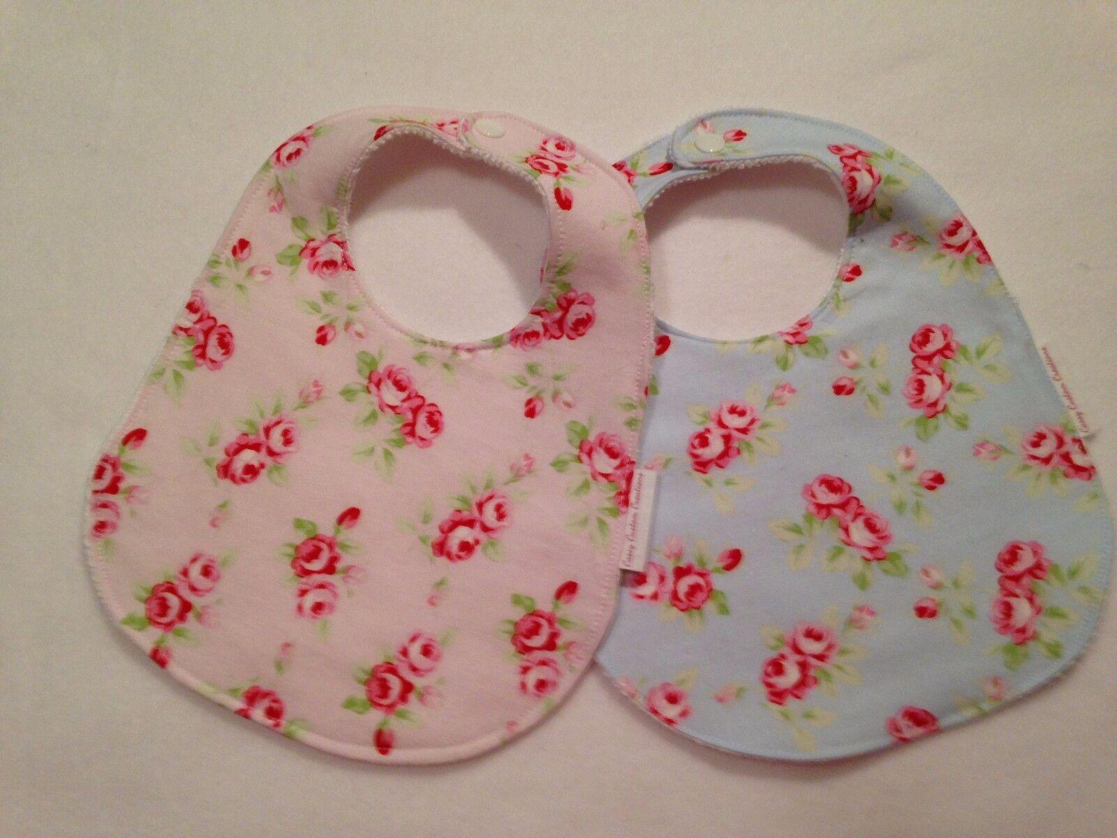 Baby Girl Bib/Burp Cloth Gift Set/ Floral Shabby Roses/Baby