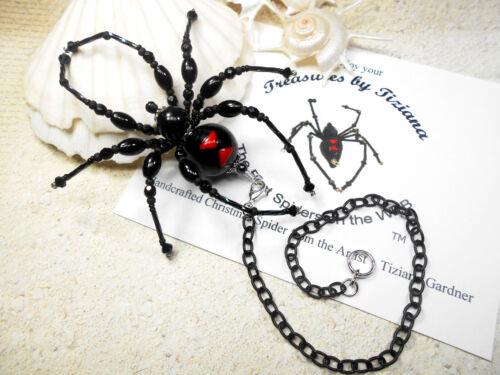 TreasuresbyTiziana® Christmas Goth Black Widow Car Charm Chain Spider Tarantula