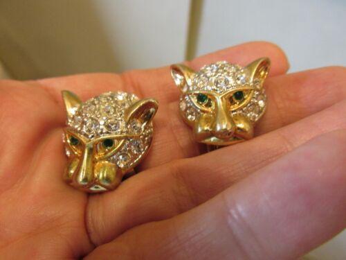 Vintage Finest Quality Pave Rhinestone Jaguar Leopard Cougar Lion Cat Earrings