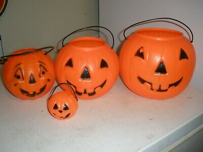 4 pc. LOT Vintage Candy Buckets Trick or Treat Pail Pumpkin Blow Mold Stackable